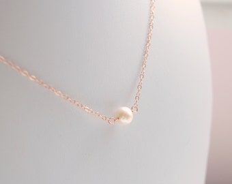 Rose Gold Filled Necklace, Freshwater Pearl Choker, Dainty Simple Jewelry, June Birthstone, Minimalist, Free Shipping