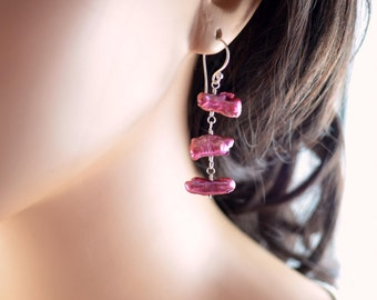 Magenta Earrings, Biwa Pearl Trio, Plum, Genuine Freshwater Pearl, Wire Wrapped, Tropical Beach Jewelry, Sterling Silver, Free Shipping