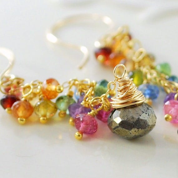 Reserved - Rainbow Earrings with Pyrite, Abalone Necklace, Tundra Sapphire Drop Necklace