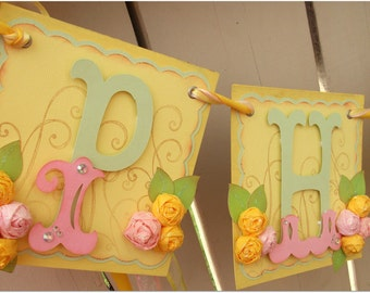 Handmade Banner - Custom made - GO GREEN - Name Banner Happy Birthday Baby Shower Bridal Shower Garden Flower Party