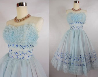 1950's Vintage Sky Blue Embroidered Prom Dress with Ruffled Shelf Bust