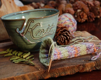 Knit Yarn Bowl Green (As Featured in Vogue Knitting) Handmade Pottery Large READY TO SHIP