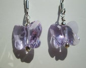 Purple butterfly sterling silver earrings- lupus awareness- swarovski crystal