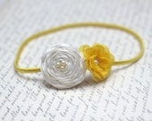 New-Duo cream and yellow rosettes with yellow headband-Pick your size