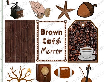 BROWN Stuff - Things that are Brown, Objects, aceo, Tag, Coffee, Starfish, Tree, Radio, Football, Violin, Moth, Teddy Bear, INSTANT DOWNLOAD