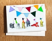 Cute Birthday CARD for Kids, Unique Photo Card for Child, Animals in Party Hats Birthday, Colourful Child Birthday, Art for Child Decor