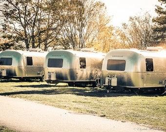 AIRSTREAM TRAVEL TRAILERS Photograph, Fine Art Print, Rustic Decor, Camping Lovers, Retro Art,