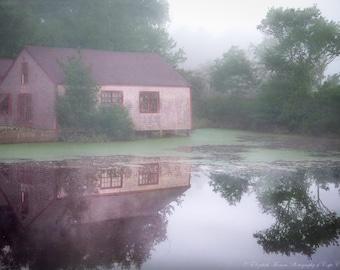Through the MIST, WAREHAM, MASSACHUSETTS, Landscape Nature Art, New England Travel Print, Trees, Water, Color