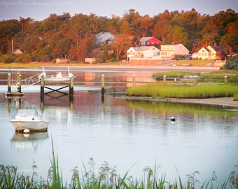 Sunrise Over the Harbor, WAREHAM, MASSACHUSETTS, LANDSCAPE Nature Art, New England Travel Print, Trees, Water, Boat, Sail, Color