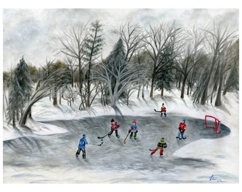 Credit River Dreams Limited Edition Giclée Paper Print - Outdoor Pond Hockey art print - Original 6 NHL Teams - Winter Classic