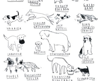 Dog A-Z Tea-Towel
