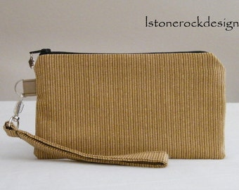Wristlet with Tan and White Stripes-Swivel Handle