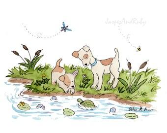 Nursery Art, Terrier Nursery Print, Dog Print, Jack Russel Art, Fox Terrier Art, Nursery Decor, Kids Wall Art, Puppy Nursery Print, New baby