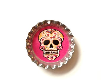 Pink sugar skull bottlecap Necklace
