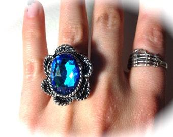 Blue Green Glass Ring // bermuda blue ring // Bermuda Blue Glass ring