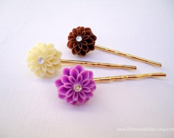 Cabochon hair slides - Cream, Brown, Magenta mums resin with rhinestone  trio neutral hue colors decorative hair accessories TREASURY ITEM