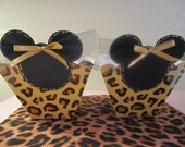 Set of 8 GLITZY MINNIE MOUSE Animal Print Favor Boxes Decorated in Gold