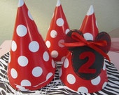 Set of 8 MINNIE MOUSE Party Hats Decorated in a Red and White Polka DOT