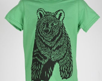 Ready To Ship!!!! Bear on Grass Green American Apparel T Shirt