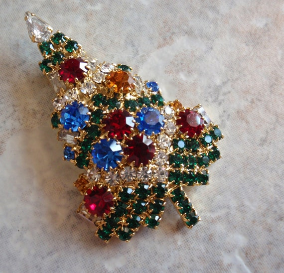 Reserved for Becky Christmas Tree Pin Brooch Eisenberg Ice