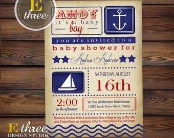 Vintage Nautical Baby Shower Invitation - Printable Sailboat Invitation - Vintage Nautical Red and Blue Shower Invite