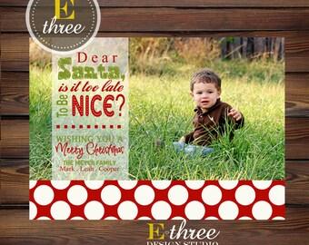 Printable Funny Photo Christmas Card - Naughty or Nice Photo Card - Red  Polka Dots Dear