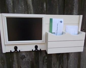 Mail Organizer/Chalkboard Message Center/Coat Hook Rack/2 Double Coat Hooks