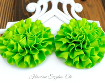 Lime Green Ruffle Flower Silk Mini 2 inch - Your choose 1 or more - Hairbow Supplies, Etc.