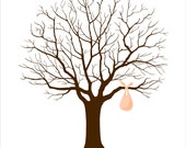 Baby Shower Fingerprint Tree - Printable JPEG - Digital Signature Tree with Baby Bundle, Baby Sack - Custom color, size, text and language