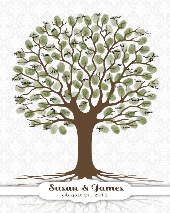 Wedding Guest Book Fingerprint Tree - DIGITAL Printable JPEG - Thumbprint Tree Guestbook Bridal Shower, Baby Shower, Birthday, Damask