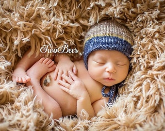 newborn knitted bonnet - photography prop - navy, mustard, light brown