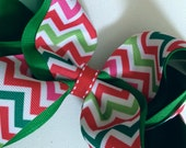 "Extra Large 6"" Layered Boutique Hair Bow: Christmas Chevron"