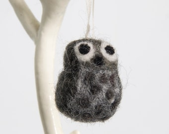 Small Needle Felted Owl Ornament or Hanging Decoration in Grey