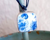 Blue & White OOAK Pottery Pendant Choker on double leather strand, Pottery Shard Necklace