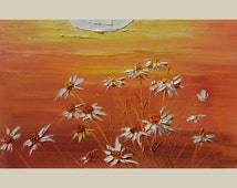 ORIGINAL Oil Painting Honey Meadow 23 x 36 Palette Knife Colorful Big Orange Yellow White Flowers Daisies Wild Sun Orange  ART by Marchella