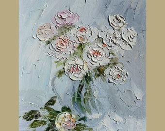 ORIGINAL Painting Oil painting Dancing Roses Palette Knife Textured Flowers Vase Bouquet Still Life Colorful White Cream ART by Marchella