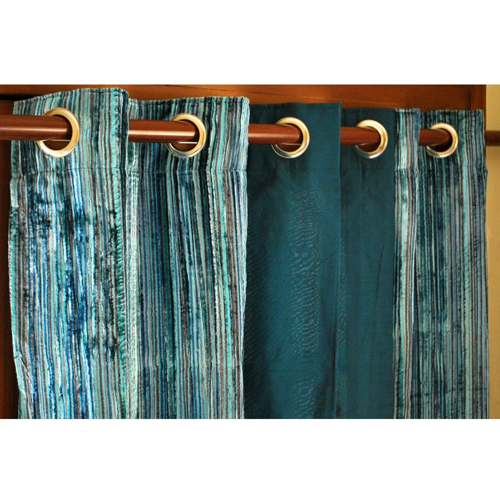 Teal curtain panels -  Zoom