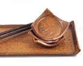 Tapas Sushi Serving Set Orange Brown Ceramic with Three Condiment Dishes on Tray Handmade Tableware