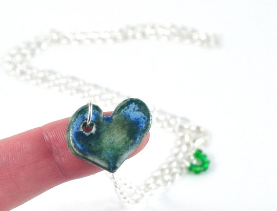 Handmade Heart Necklace Ceramic and Fused Glass Blue Green Love Heart on Asymmetrical Silver Chain with Seed Bead Accents