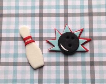 Bowling Fondant Cupcake Toppers