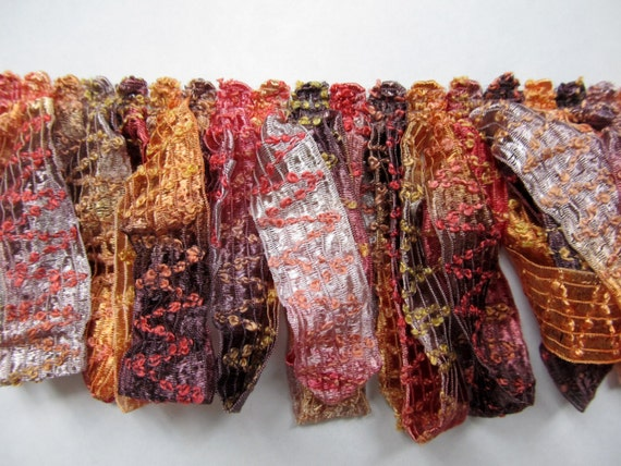 Amazing ribbon Fringe multi fall colors