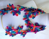 Bright, vibrant  colors--pink, turquoise,magenta, and purple victorian lace, vp