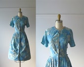 vintage early 1960s cotton day dress / Blue Splendor