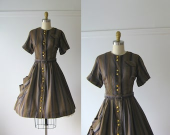 vintage 1950s dress / 50s dress / Head of the Class