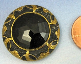 Antique Victorian Button 1 1/8 Black Art Deco Brass Button 240