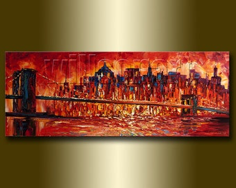 Original Cityscape Painting Oil on Canvas Palette Knife Textured Abstract  Modern Art 15X40 by Willson Lau