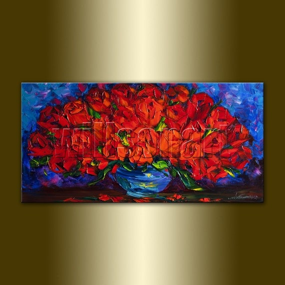 Red Roses Modern Flower Oil Painting Textured Palette Knife Contemporary Floral Original Art 15X30 by Willson Lau