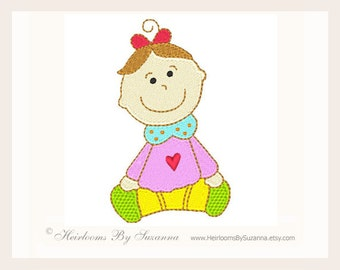Machine Embroidery Design - Baby Girl - Children - Girl - Babies - 4x4 Design - TWO SIZES - Instant Download - No. Baby Girl-1B