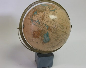 Crams Imperial World Globe on Hand Painted wood block base