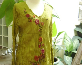 Long Sleeves Bohemian Embroidered Top - Apple Green